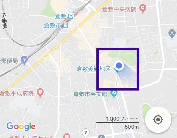 美観地区のGoogleマップ